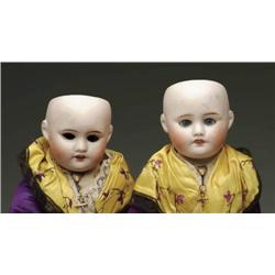 LOT OF TWO TWIN FRENCH BISQUE DOLLS