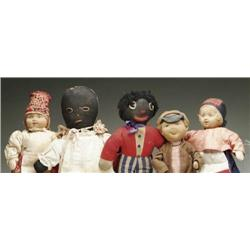 LOT OF SIX CLOTH RUSSIAN AND TWO BLACK CLOTH DOLL