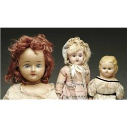 LOT OF TWO WAX-OVER-COMPOSITION HEAD DOLLS AND ON