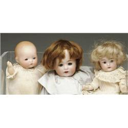 LOT OF 3 SMALL GERMAN BISQUE HEAD DOLLS