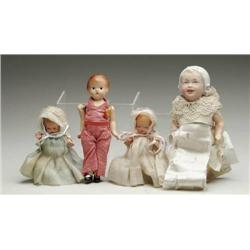 LOT OF 3 COMPOSITION DOLLS AND 1 BISQUE HEAD BABY