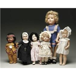 LOT OF 6 COMPOSITION DOLLS