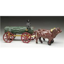 OXEN CART WITH LOG WAGON
