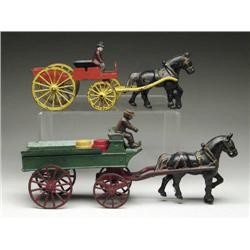 LOT OF 2 HORSE DRAWN TOYS