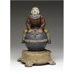 CLOWN ON GLOBE MECHANICAL BANK