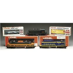 """LOT CONTAINING 3 LIONEL """"O"""" GAUGE ENGINES & 2 CAR"""