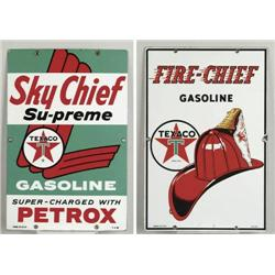 LOT OF TWO PORCELAIN TEXACO GASOLINE SIGNS