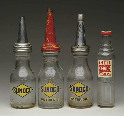Lot Of Four Glass Motor Oil Containers