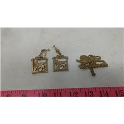 REGIMENT BADGE AND EARRINGS