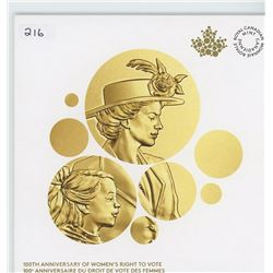 1916-2016 100TH ANNIVERSARY OF WOMENS RIGHTS TO VOTE $1 COIN