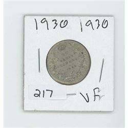 1930VF CANADIAN 25 CENT