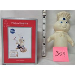 Vintage Pilsbury Doughboy doll + 2012 heirloom collection Doughboy ornament (new) *it giggles!*