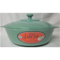 Jadite Fire King 2000 covered casserole / stickers NEW