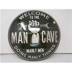 Man cave reproduction button sign, 16""