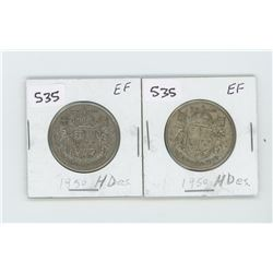 (2) 1950HDES-EF- CANADIAN SILVER 50 CENT