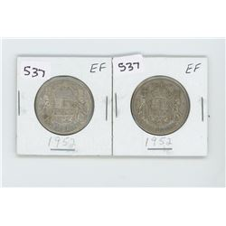 (2) 1952EF- CANADIAN SILVER 50 CENT
