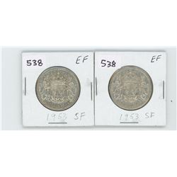 (2) 1953SF-EF- CANADIAN SILVER 50 CENT