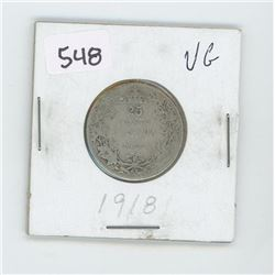 1918VG8-CANADIAN SILVER 25 CENT