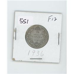 1939F12- CANADIAN SILVER 25 CENT