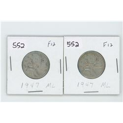 (2) 1947ML-F12- CANADIAN SILVER 25 CENT