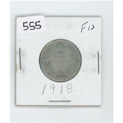 1918F12- CANADIAN SILVER 25 CENT