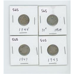 1929,1943,1945,1949- CANADIAN SILVER 10 CENT
