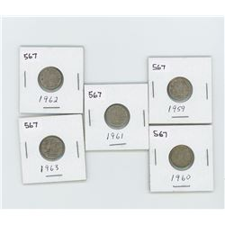1959,1960,1961,1962,1963- CANADIAN SILVER 10 CENT