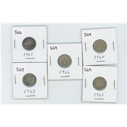1964,1965,1966,1967,1968- CANADIAN SILVER 10 CENT