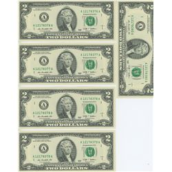 LOT OF 25 USA TWO DOLLARS W/ CONSECUTIVE SERIAL #'S