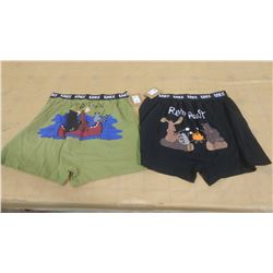 TWO PAIRS OF BOXERS (SIZE LARGE)