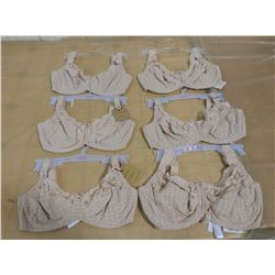 LOT OF SIX BRAS, ASSORTED SIZES (SIZES ON TAGS NOT CANADIAN)