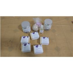 LOT OF ASSORTED BATH SALTS AND SOAP