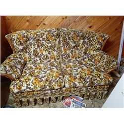 BROWN AND YELLOW FLOWER LOVE SEAT