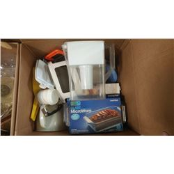 BOX OF ASSORTED ITEMS - WATER PITCHER, GRATER, STRAINER, ETC.