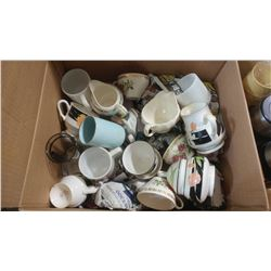 BOX OF ASSORTED ITEMS - MUGS, CUPS, DISHES, ETC.