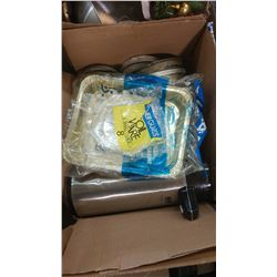 BOX OF ASSORTED ITEMS - SILVERWARE, FOIL TRAYS, ETC.