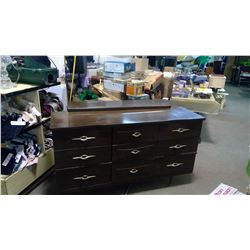 "6 DRAWER DRESSER WITH MIRROR - DRESSER 54"" X 16"" X 30, MIRROR 28"" X 42"""