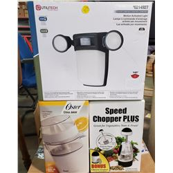 CITRUS JUICER, SPEED CHOPPER, MOTION ACTIVATED LIGHT IN BOX