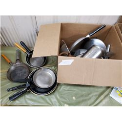 CAST IRON AND ALUMINUM FRY PANS, ASSORTED KITCHENWARE