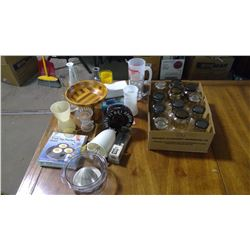 LOT OF ASSORTED KITCHENWARE - GLASSES, JUICER, EGG POACHER, ETC.