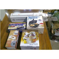 LOT OF ASSORTED ITEMS - FRUIT CUPS, SANDWICH MAKER, POTATO CHIPPER, ETC.