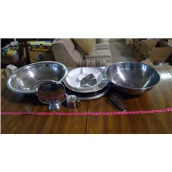 "LARGE BOWLS AND TRAYS - 1 BOWL 20"" ACROSS, 1 BOWL 16"" ACROSS"