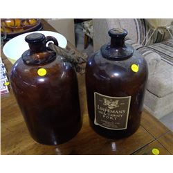 TWO WHISKEY JUGS WITH CORKS (LINDEMAN'S OLD TAWNY PORT)