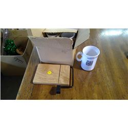 HICKORY FARMS CHEESE CUTTER AND FOUR ROYAL BANK MUGS