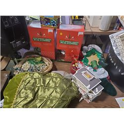 LARGE LOT OF ASSORTED CHRISTMAS DÉCOR - STOCKINGS, LIGHTS, GARLAND, ETC.