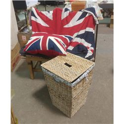 LAUNDRY BASKET, UNION JACK PILLOW AND BLANKET