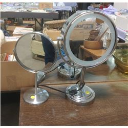 TWO MAKEUP MIRRORS - ONE WITH LIGHT