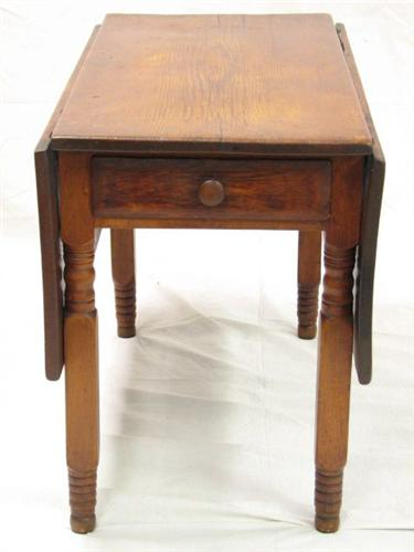 Pumpkin Pine Drop Leaf Table With Drawer 19th C. Loading Zoom