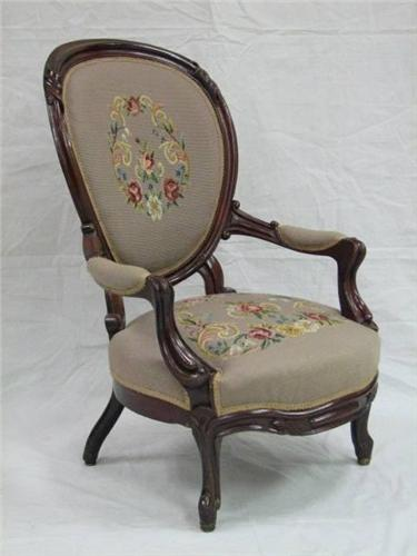 Victorian Needlepoint Rococo Revival Parlour Chair. Loading Zoom