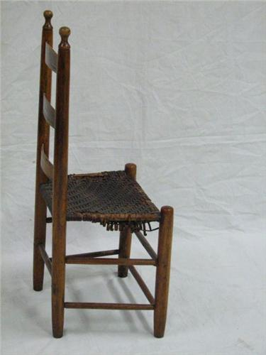 ... Image 3 : 1870 NE Shaker Ladder Back Chair, Woven Leather Seat ...